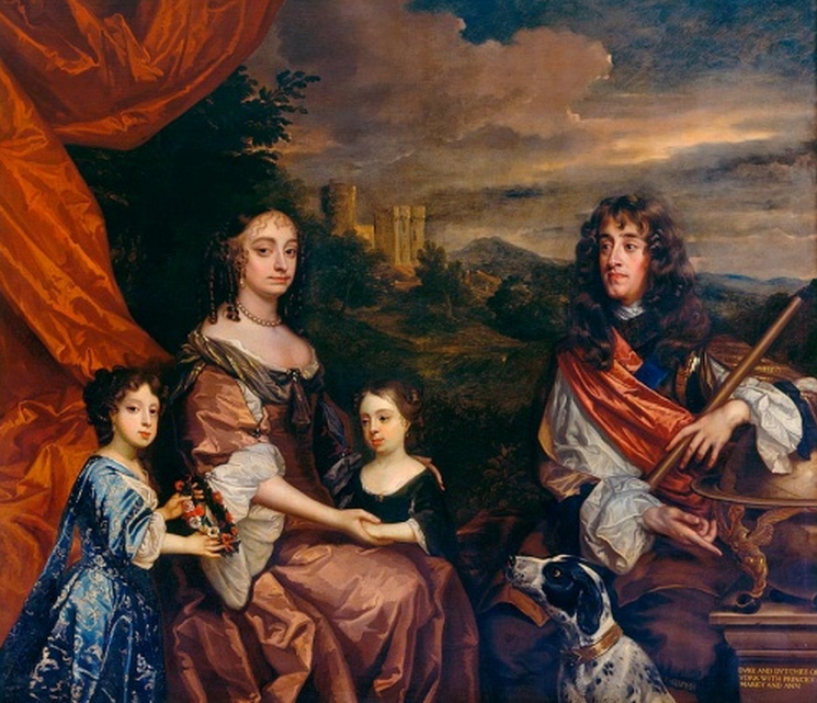 "James II, when Duke of York with Anne Hyde, Princess Mary, later Mary II and Princess Anne"" by Sir Peter Lely, c. 1668-85. Royal Collection © Her Majesty Queen Elizabeth II"