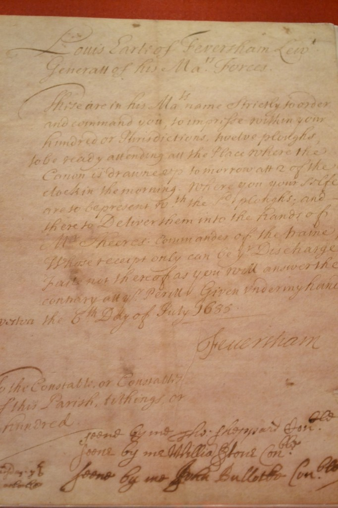 A letter signed by Lord Feversham. Photo: Andrea Zuvich