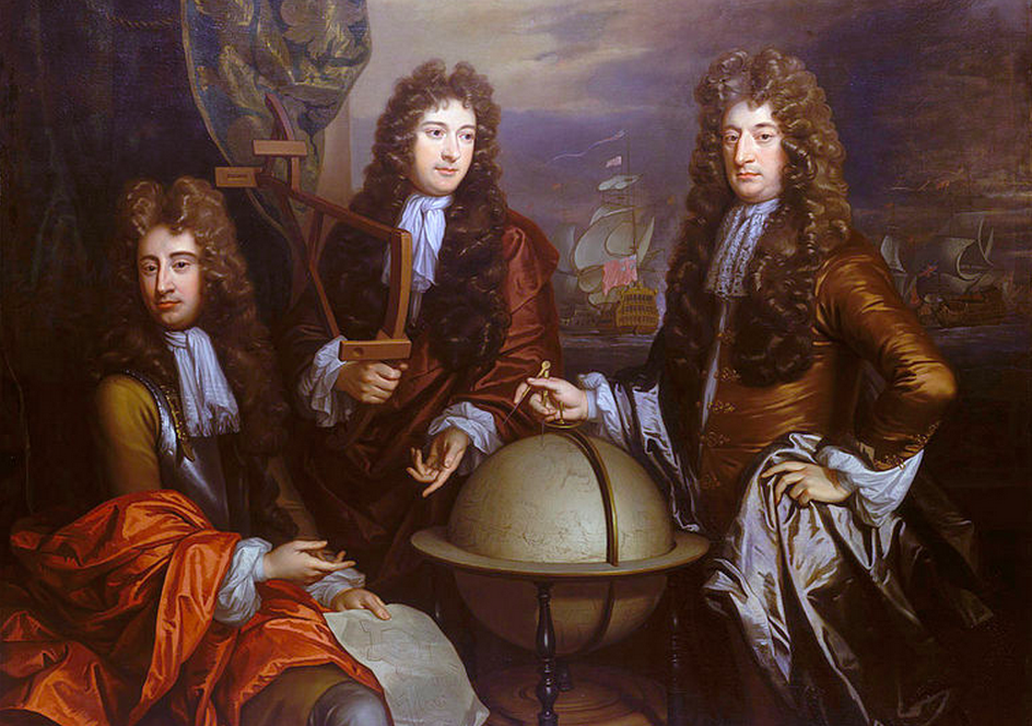 A triple portrait of Thomas Phillips, John Benbow, and Sir Ralph Delavall. Image: National maritime museum, greenwich.