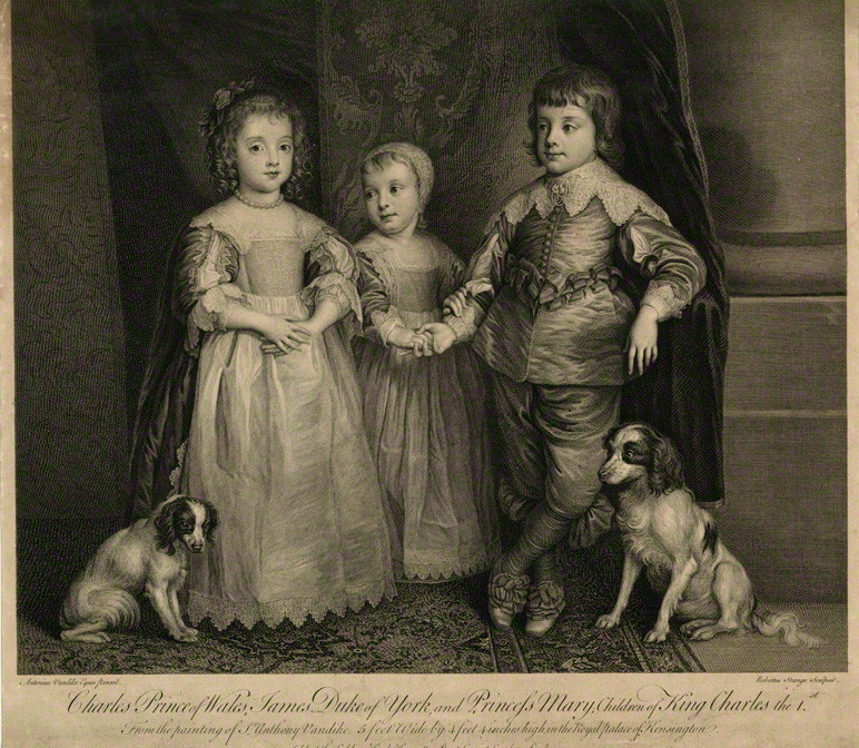 The Three Eldest Children of King Charles I; King Charles II, Mary, Princess of Orange and King James II. By Sir Robert Strange, after Sir Anthony Van Dyck. Image: National Portrait Gallery, London.