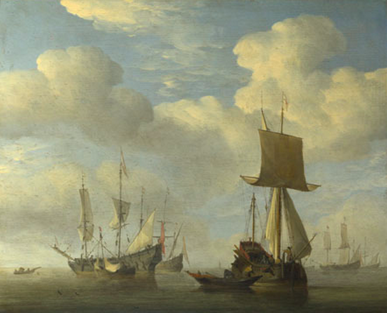 An English Vessel and Dutch Ships Becalmed about 1660, Willem van de Velde. The National Gallery, London.