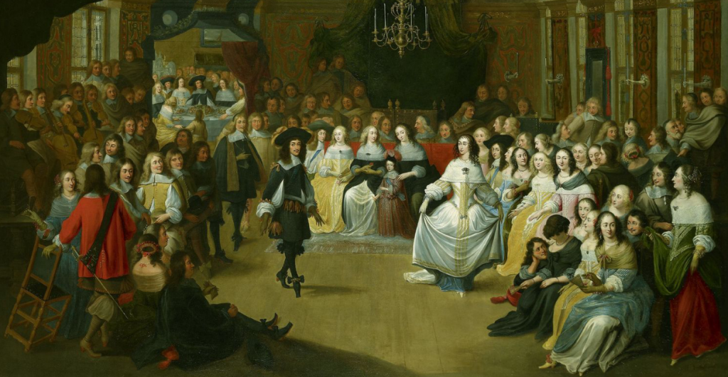 Charles II dancing at a ball at court, c.1660. Hieronymus Janssens (1624-93)