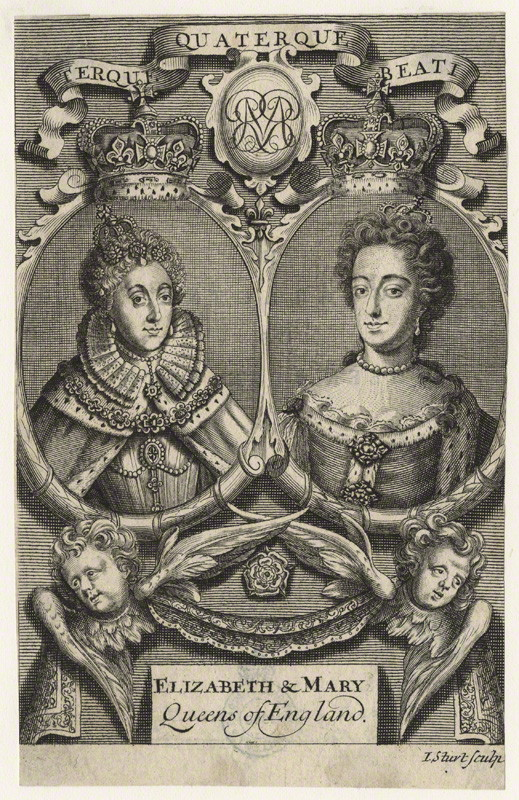 NPG D21066; Queen Elizabeth I; Queen Mary II by John Sturt, after  Unknown artists. circa 1689-1694. National Portrait Gallery, London.