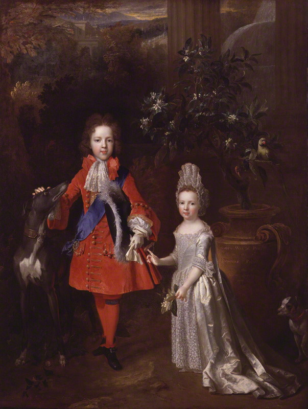 NPG 976; Prince James Francis Edward Stuart; Princess Louisa Maria Theresa Stuart by Nicolas de Largilliere. © National Portrait Gallery, London