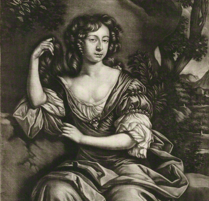 Margaret Hughes after Sir Peter Lely mezzotint, 1677-1685 (1687). © National Portrait Gallery, London