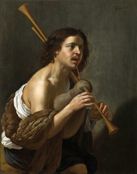 JAN VAN BIJLERT 1597/98 - Utrecht - 1671 A SHEPHERD PLAYING THE BAGPIPES Oil on Panel 16 ¾ x 13 in (42.5 x 33 cm) Signed upper right Provenance Private collection, France. © Fergus Hall Master Painters, London.