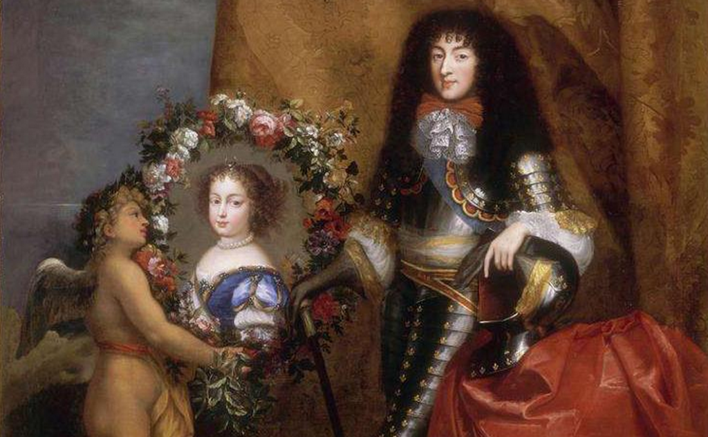 Philippe de France with his favourite daughter Marie Louise (future Queen of Spain). Painted by  Pierre Mignard (1612–1695).