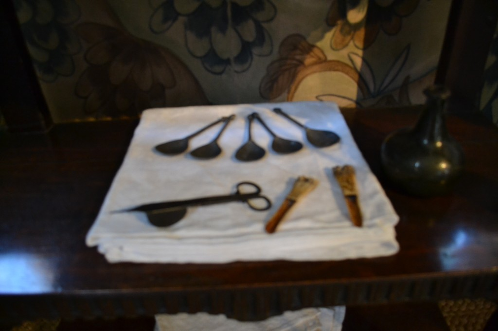 Spoons and bone apple-corers. Blakesley Hall, Photo: Andrea Zuvich