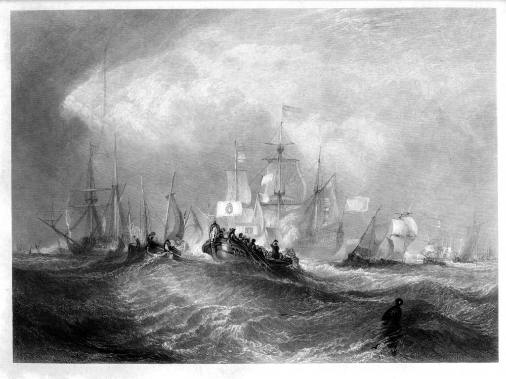 Prince of Orange Landing at Torbay, engraving by William Miller after J M W Turner (Rawlinson 739), published in The Art Journal 1852 (New Series Volume IV). George Virtue, London, 1852