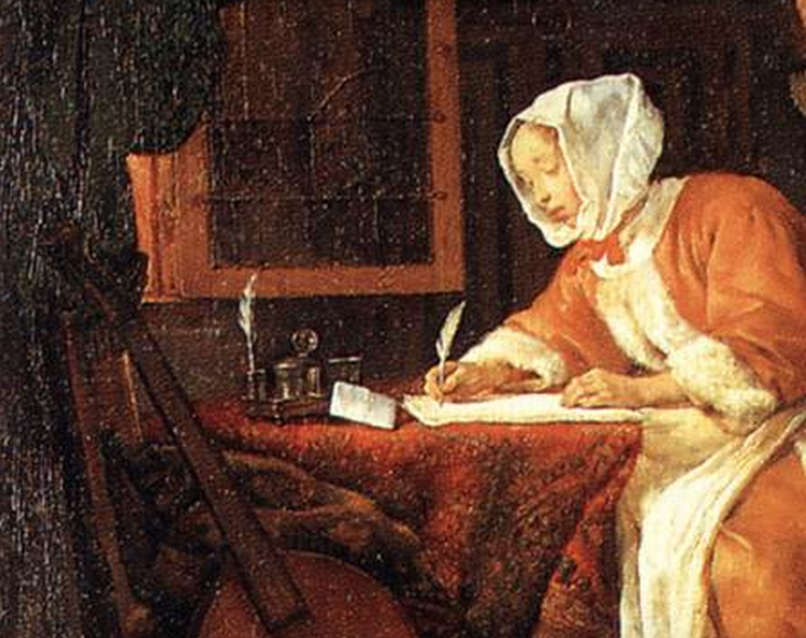 Image: detail from METSU's 'The Letter-Writer Surprised', c. 1662. Oil on wood, 45 x 39 cm. Wallace Collection, London.