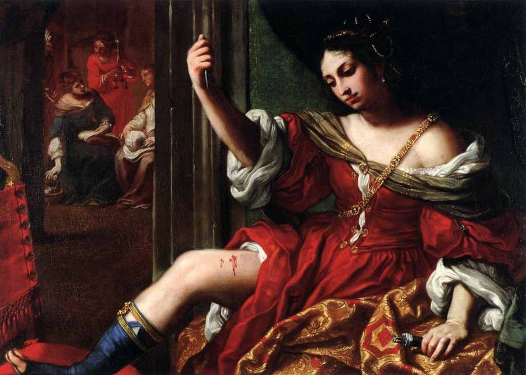 Portia Wounding her Thigh 1664 Oil on canvas, 101 x 138 cm Stephen Warren Miles and Marilyn Ross Miles Foundation, Houston, via Web Gallery of Art.
