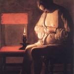 LA TOUR, Georges de Woman Catching Fleas 1630s Oil on canvas Musée Historique, Nancy Web Gallery of Art