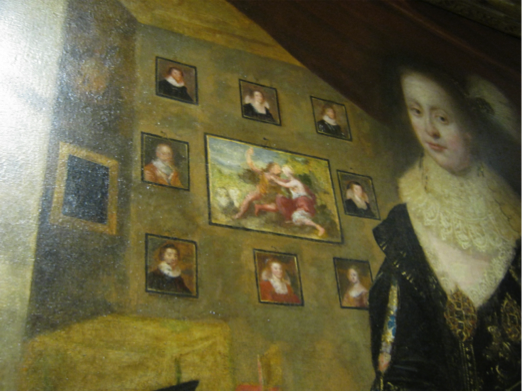 ...and a close up of the Countess of Rothes the other full-length portrait with her daughters. The background paintings echo the studio of Jamesone.