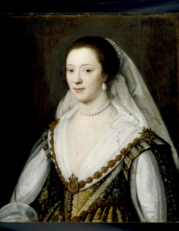 PORTRAIT OF FRANCES COKE, VISCOUNTESS PURBECK (1601-1645) by Michiel Janszoon van Miereveldt.Second daughter of Sir Edward Coke, Lord Chief Justice.In 1617 she married John Viliers. Credit line : Ashdown House, The Craven Collection (acquired by H.M. Treasury and transferred to The National Trust in 1968) , ©NTPL/John Hammond.