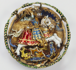 Hat badge showing St George and the dragon, ca. 1520. Enamelled gold, saltwater pearl. 4.2 cm (diameter) x 0.9 cm. The Royal Collection via http://arthistory.about.com/