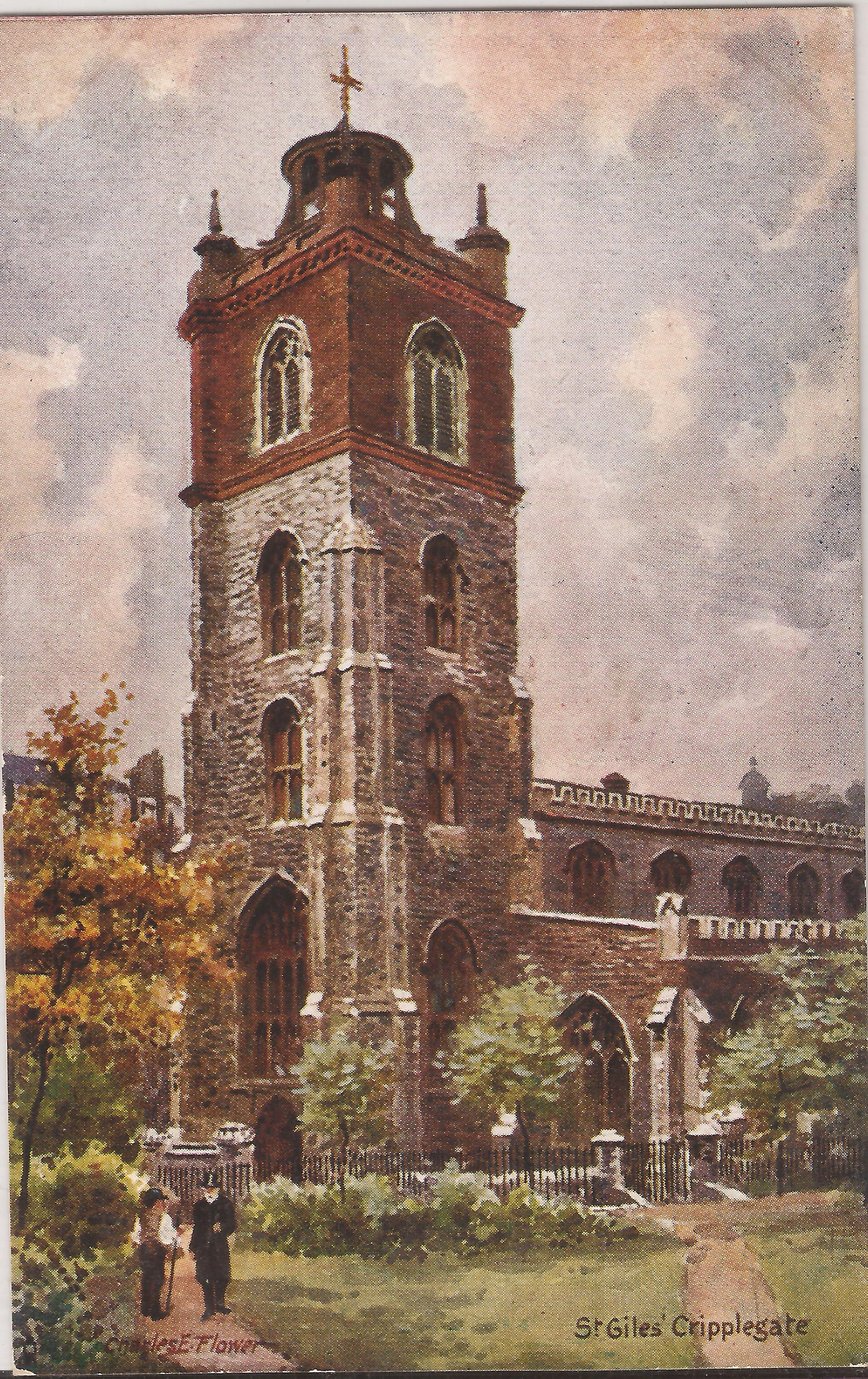 Illustration: St Giles Church Cripplegate, London, close to where Frances hid and where her illegitimate son was born. Author's collection.