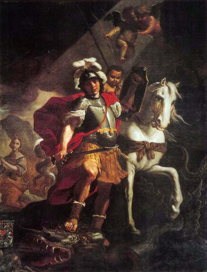PRETI, Mattia St. George Victorious over the Dragon 1678 Oil on canvas Collegiate Basilica of St. George, Gozo, Malta, via the Web Gallery of Art.